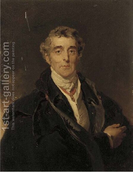 Portrait of Arthur Wellesley, 1st Duke of Wellington (1769-1852), small half-length, in a black cloak and white cravat by (after) Lawrence, Sir Thomas - Reproduction Oil Painting