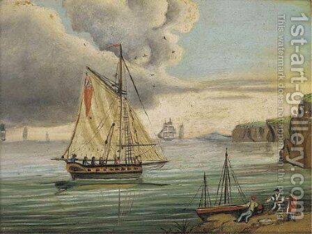 An English frigate in the Channel by (after) Thomas Buttersworth - Reproduction Oil Painting