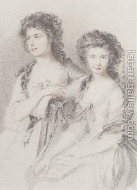 Double portrait of Elizabeth Ann Linley and her sister, Mary, three-quarter-length, in white dresses by (after) Gainsborough, Thomas - Reproduction Oil Painting