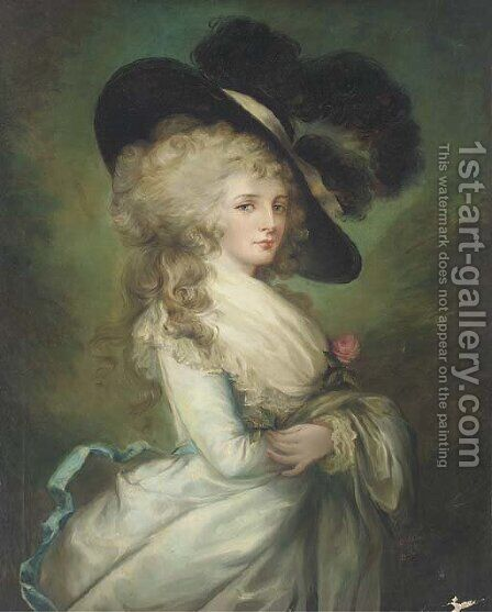 Portrait of Georgiana, Duchess of Devonshire (1757-1806), three-quarter-length, in a pale blue dress and black hat by (after) Gainsborough, Thomas - Reproduction Oil Painting