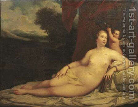 Venus crowned by Cupid, a landscape beyond by Tiziano Vecellio (Titian) - Reproduction Oil Painting