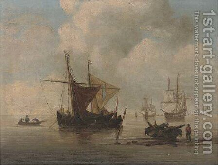 A Smalschip at anchor with a Kaag alongside a Weyschuit ashore by (after) Willem Van De, The Younger Velde - Reproduction Oil Painting