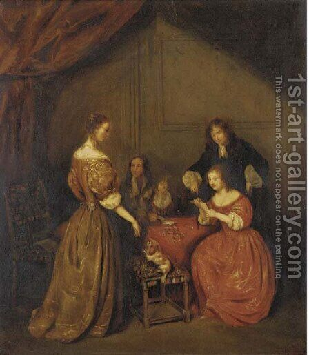 A game of cards by (after) Willem Van Mieris - Reproduction Oil Painting