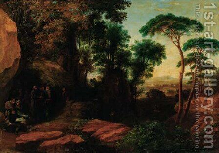Travellers resting in an extensive wooded landscape by Agostino Aglio - Reproduction Oil Painting