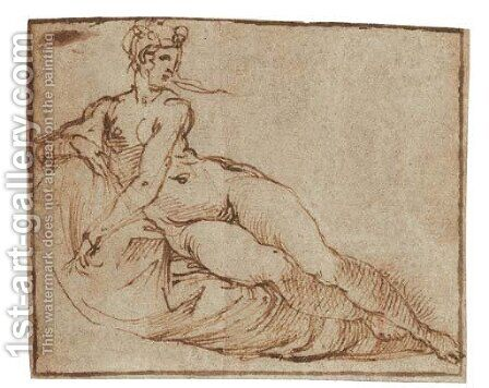 A female nude reclining by Agostino Carracci - Reproduction Oil Painting