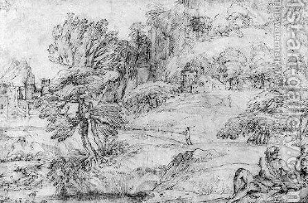 An extensive mountainous Landscape with two Figures in the Foreground and a Castle by a River by Agostino Carracci - Reproduction Oil Painting