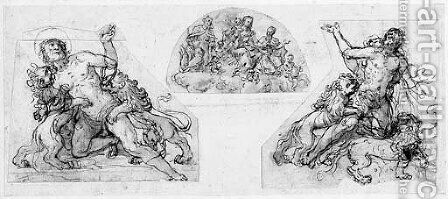 Two studies for an early martyr attacked by lions by Agostino Ciampelli - Reproduction Oil Painting