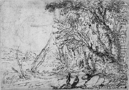 A wooded Landscape with Figures by Agostino Tassi - Reproduction Oil Painting