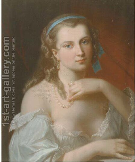 A young beauty wearing a pearl necklace by Akos Von Aranyossy - Reproduction Oil Painting
