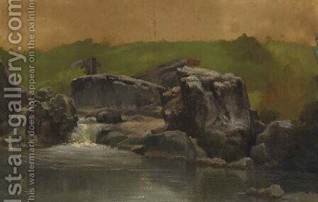 Rocks and Stream, Westphalia, Germany by Albert Bierstadt - Reproduction Oil Painting