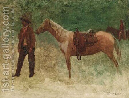 Standing Cowboy with Horse by Albert Bierstadt - Reproduction Oil Painting