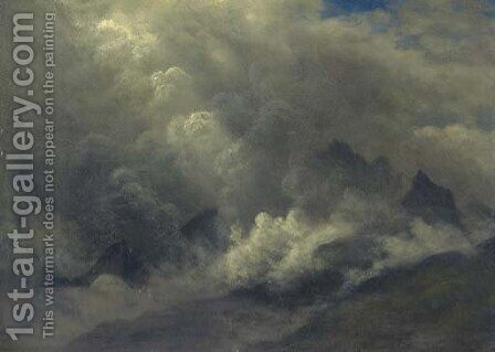 Study of Clouds and Mist by Albert Bierstadt - Reproduction Oil Painting