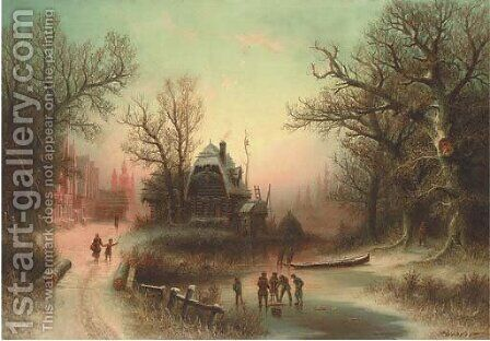 Figures in a winter landscape by Albert Bredow - Reproduction Oil Painting