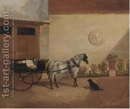A carriage horse with a gig by A. Clark - Reproduction Oil Painting