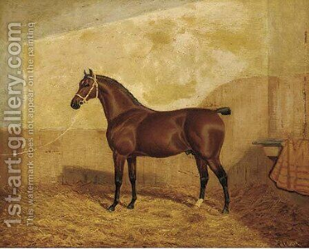 A tethered brown hunter in a stable by A. Clark - Reproduction Oil Painting