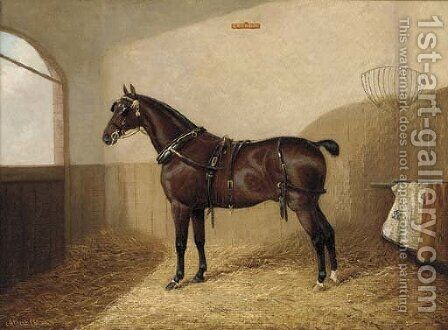Goodboy, a harnessed liver chestnut in a stable by A. Clark - Reproduction Oil Painting