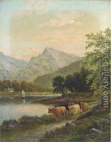 Highland cattle by a river by Albert Dunnington - Reproduction Oil Painting
