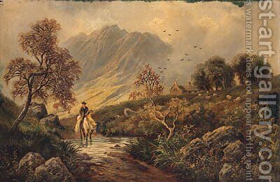 A Scotsman Returning Home In A Highland Landscape by Albert Dunnington - Reproduction Oil Painting