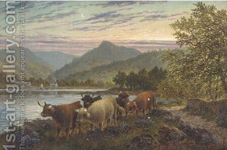Cattle on the waters edge at Brodick, Arran by Albert Dunnington - Reproduction Oil Painting