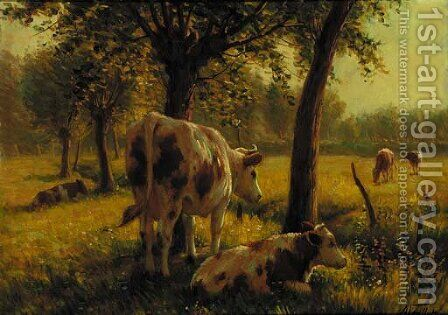 Cattle in a sunlit meadow by Albert Gaullet - Reproduction Oil Painting