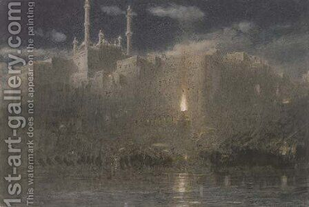 Benares at Night by Albert Goodwin - Reproduction Oil Painting