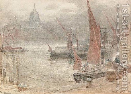 View of St Paul's Cathedral from the South Bank of the Thames by Albert Goodwin - Reproduction Oil Painting