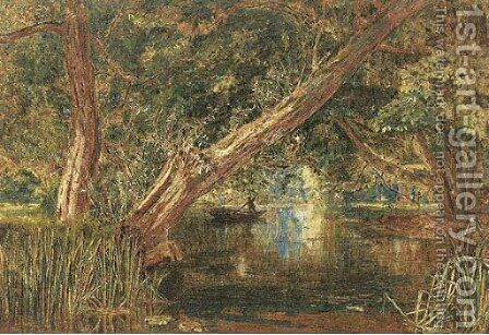 A wooded lake by Albert Goodwin - Reproduction Oil Painting