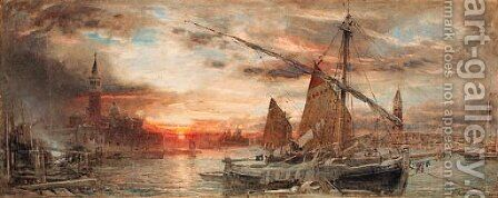 Venice at sunset by Albert Goodwin - Reproduction Oil Painting