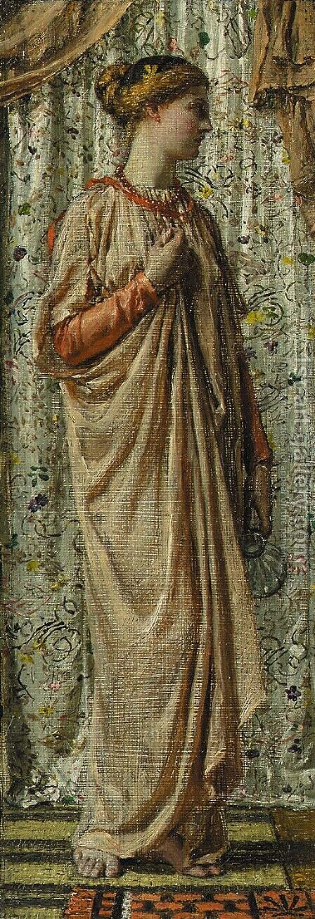 Standing female figure holding a glass pitcher, circa 1877 by Albert Joseph Moore - Reproduction Oil Painting