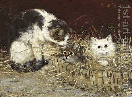 Kittens in a basket by Albert Julien Toefaert - Reproduction Oil Painting