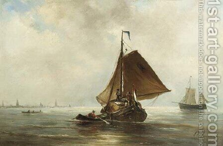 A haybarge on the IJ, Amsterdam in the distance by Albert Jurardus van Prooijen - Reproduction Oil Painting