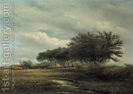 Peasants harvesting in a summer landscape by Albert Jurardus van Prooijen - Reproduction Oil Painting