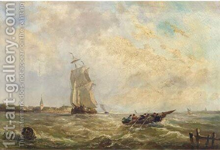 Sailing activities in a river estuary by Albert Jurardus van Prooijen - Reproduction Oil Painting