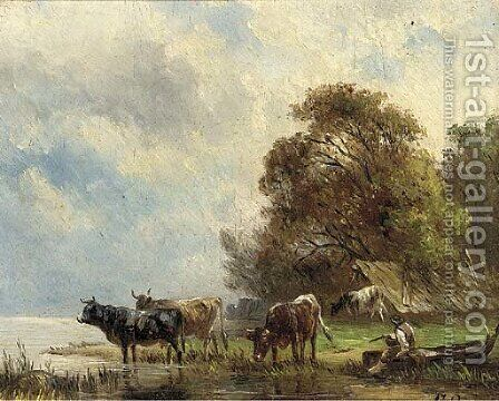 Cattle watering at a riverbank, a drover looking on; and Another similar by Albert Jurardus Van Prooyen - Reproduction Oil Painting