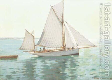 The 'Aranella' sailing off the coast of Cannes, France by Albert Lynch - Reproduction Oil Painting