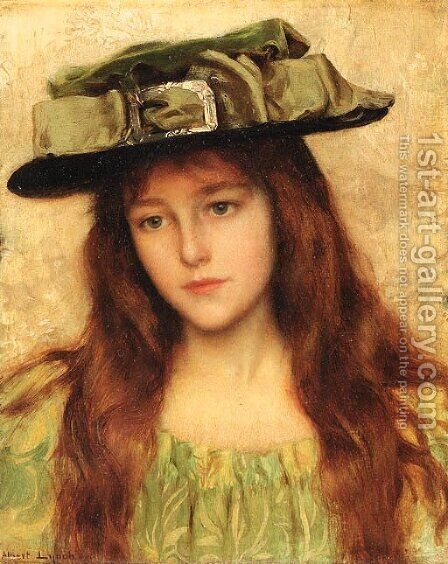 Young beauty in a green hat by Albert Lynch - Reproduction Oil Painting