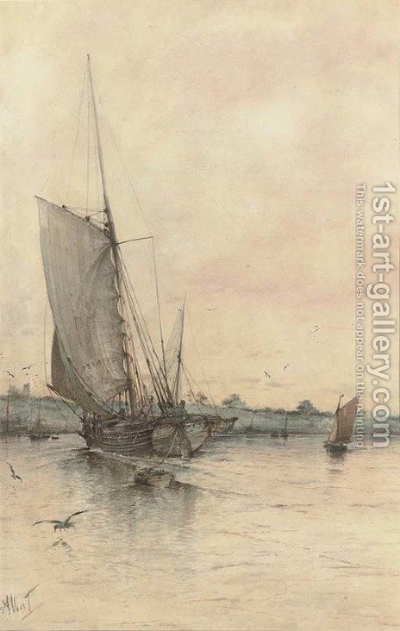 Returning to harbour by Albert Markes - Reproduction Oil Painting