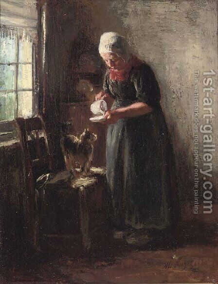A saucer of milk by Albert Neuhuys - Reproduction Oil Painting