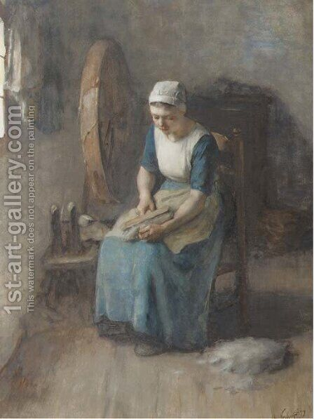 Combing the wool by Albert Neuhuys - Reproduction Oil Painting