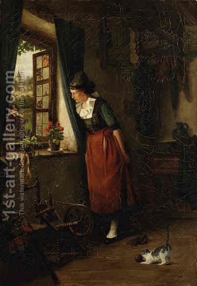 Peeking out the Window by Albert Neuhuys - Reproduction Oil Painting