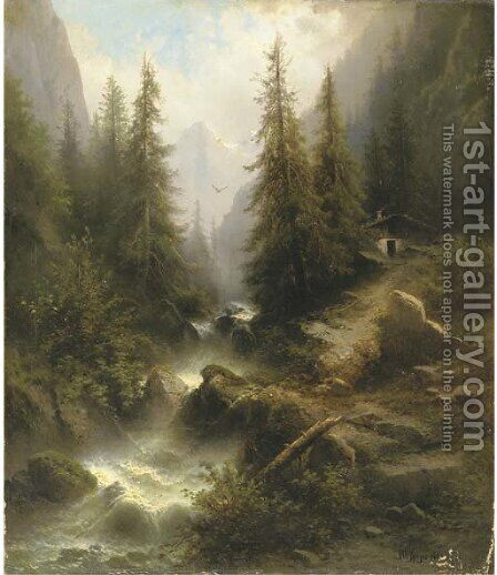 Waterfall cascading amongst pine trees in the Alps by Albert Rieger - Reproduction Oil Painting