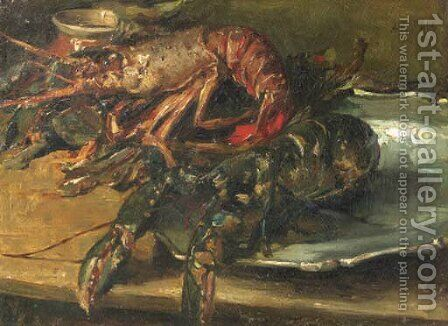 Lobsters on a silver plate by Albert Roelofs - Reproduction Oil Painting