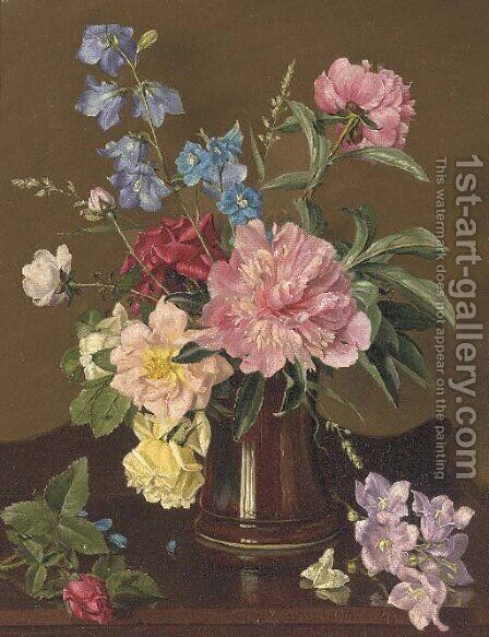 Roses and other summer flowers in a vase on a sideboard by Alfred Walter Williams - Reproduction Oil Painting