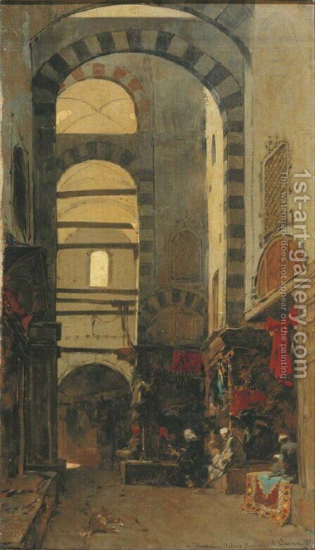 A quiet afternoon at the bazar by Alberto Pasini - Reproduction Oil Painting