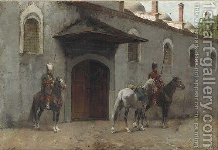 Guarding the palace entrance by Alberto Pasini - Reproduction Oil Painting