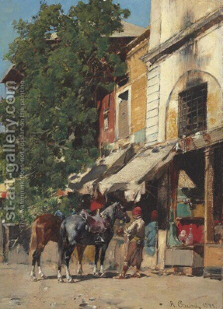 In the Marketplace, Istanbul by Alberto Pasini - Reproduction Oil Painting