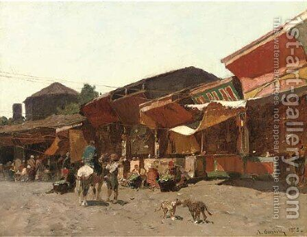 Mercato a Brussa by Alberto Pasini - Reproduction Oil Painting