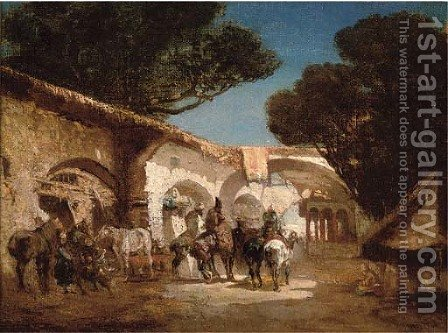 Saddling up at the stables, an Arab street by Alberto Pasini - Reproduction Oil Painting