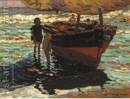 A fishing boat with children on the shore by Alberto Pla y Rubio - Reproduction Oil Painting