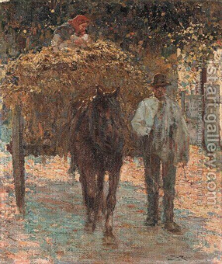 The haywagon by Alberto Pla y Rubio - Reproduction Oil Painting